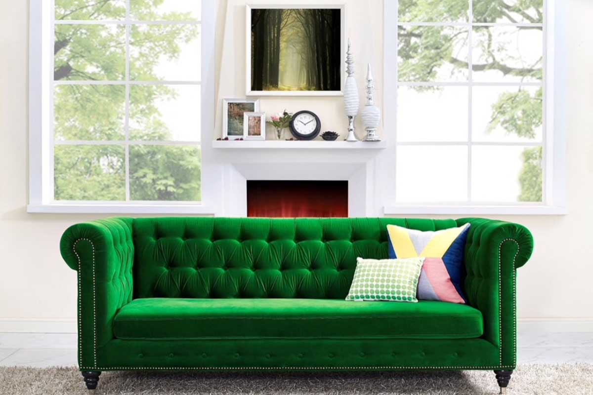 Photo of emeral green sofa